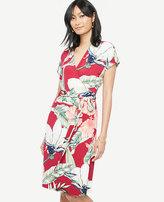 Ann Taylor Palm Leaf Short Dolman Sleeve Wrap Dress