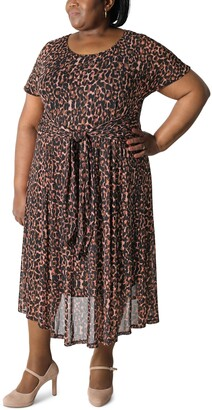 Robbie Bee Plus Size Printed Mesh Midi Dress
