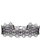 Quiz Black Flower Lace Choker