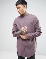 Asos Regular Fit Longline Shirt In Purple With Grandad Collar