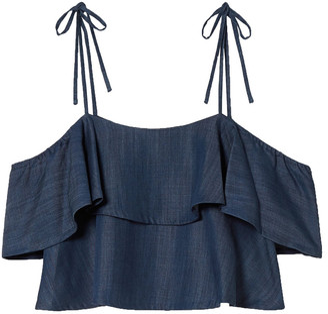 Rachel Zoe Angie Cold-shoulder Ruffled Tencel-chambray Top