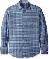 Nautica Men's Long Sleeve Wrinkle Resistant Small White Plaid Shirt