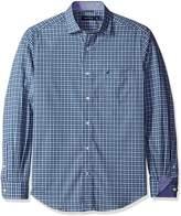 Nautica Men's Long Sleeve Wrinkle Resistant White Plaid Shirt