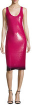 Ralph Lauren Sequined Ombre-Hem Sleeveless Dress, Hot Pink
