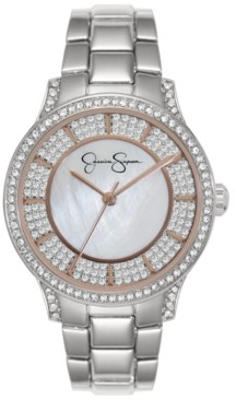 Jessica Simpson Women's Crystal Encrusted Silver Tone Bracelet Watch 36mm