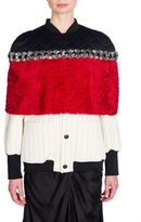Marni Quilted & Embellished Astrakhan Lamb Fur Cape