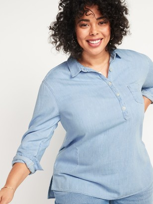 Old Navy Oversized No-Peek Plus-Size Jean Popover Tunic Shirt