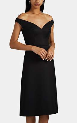 Prada Women's Off-The-Shoulder Wool Gabardine Dress - Black