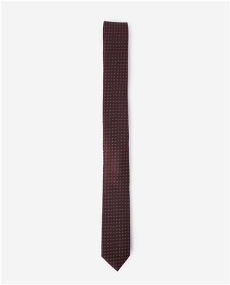 The Kooples Skinny burgundy silk tie with print