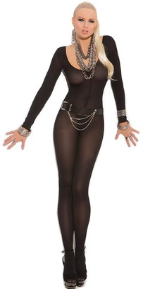 Other Black Bodystocking Crotchless Long Sleeve Sexy Open Crotch Lingerie Size 8 10 12 14
