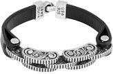 King Baby Studio Men's 925 Sterling Silver Rotor Links Black Leather Strap Bracelet