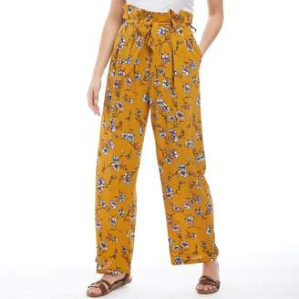 Only You Womens Elva Paperbag AOP Trousers Harvest Gold/Flower