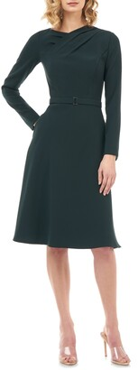 Kay Unger Lennox Long Sleeve Stretch Crepe Cocktail Dress