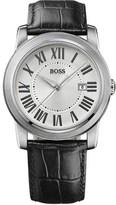 BOSS HUGO BOSS Roman Numeral Leather Strap Watch, 40mm