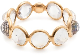 Rainbow Moonstone Round Rose Cut Ring Band In 18K Yellow Gold