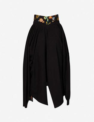 aganovich Floral jacquard-print woven midi skirt