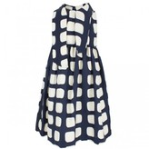 Milly Minis Navy and Cream Silk Patterned Dress
