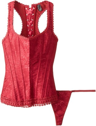 iCollection Women's Brocade Racerback Corset and G-String