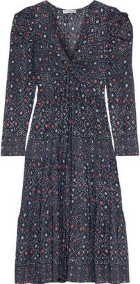 Ulla Johnson Miya Twist-front Printed Metallic Cotton-blend Midi Dress