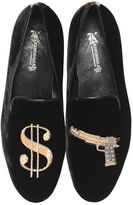 $ & Gun Embroidered Suede Loafers