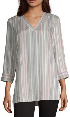 Liz Claiborne Womens V Neck 3/4 Sleeve Tunic Top
