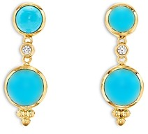 Temple St. Clair 18K Yellow Gold Turquoise & Diamond Double Drop Earrings