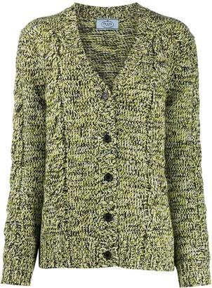 Prada V-neck cable-knit cardigan