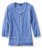 Lands' End Women's Petite 3/4 Sleeve Tipped Cardigan Sweater-China Blue