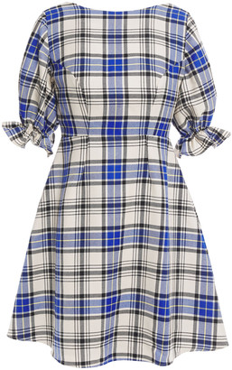 Shrimps Open-back Checked Wool-twill Mini Dress
