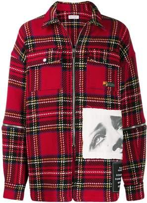 Palm Angels contrast patch zip-up shirt jacket