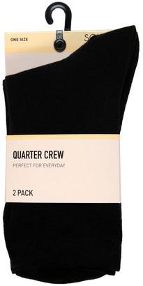 S.O.H.O New York Crew Core 3/4 Crew Sock 2 Pack HSOW17002 Black 2-8