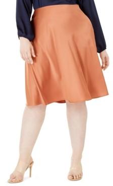 Monteau Trendy Plus Size Satin Midi Skirt