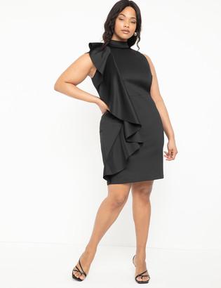 ELOQUII Ruffle Detail Mock Neck Dress