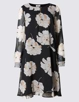 Marks and Spencer Lily Print Long Sleeve Shift Dress