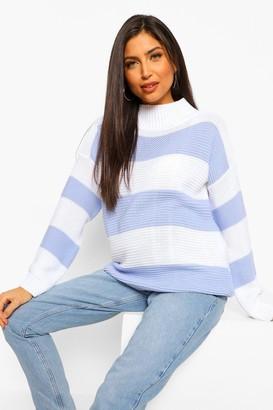 boohoo Maternity High Neck Stripe sweater
