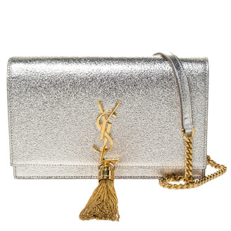 Saint Laurent Gold Crackled Leather Kate Tassel Wallet on Chain