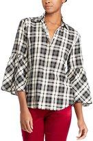 Lauren Ralph Lauren Petite Plaid Bell-Sleeve Cotton Shirt