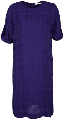 HUGO BOSS Boss By Purple Textured Short Sleeve Shift Dress S