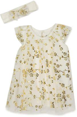 Baby Starters Girls' Casual Dresses Ivory - Ivory Floral Angel-Sleeve Dress & Bow Headband - Newborn & Infant