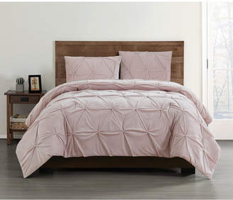 Truly Soft Everyday Pleated Velvet King Comforter Set Bedding