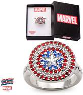 Marvel Women's Stainless Steel Captain America Logo Bling Ring With Jewelry Box (7 Size)
