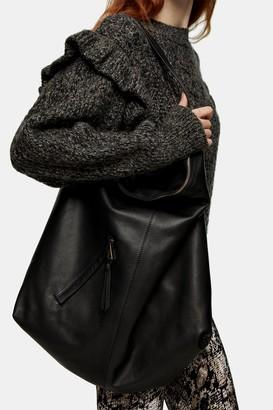 Topshop Black Double Pocket Hobo Bag
