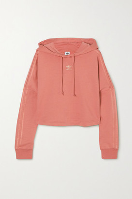 adidas Cropped Metallic-striped French Cotton-terry Hoodie - Pink