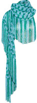Missoni Metallic Fringed Crochet-knit Scarf - Blue