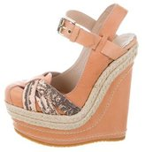 Mulberry Leather Round-Toe Wedges