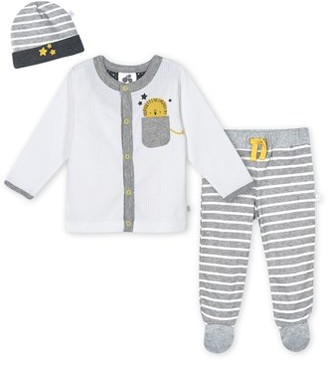 Just Born Organic Baby Boy Cardigan, Pant, & Cap Set, 3-Piece