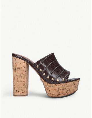 Kurt Geiger Crocodile faux-leather wedge sandals