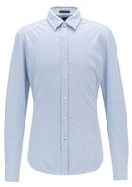 HUGO BOSS - Slim Fit Shirt In Printed Single Jersey Cotton - Blue