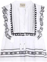 Sea Ruffled Crochet-trimmed Cotton-voile Blouse - White