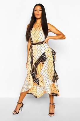boohoo Chain Print Frill Detail Midi Dress